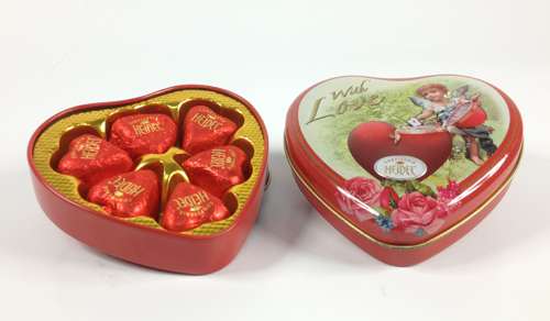 embossed heart tin for chocolates