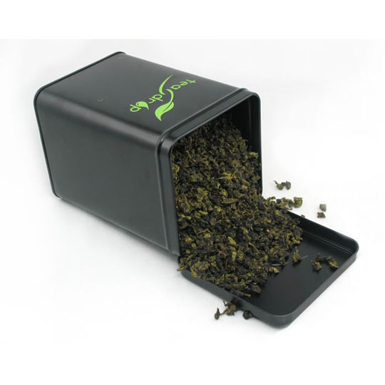square hinged tea tin container