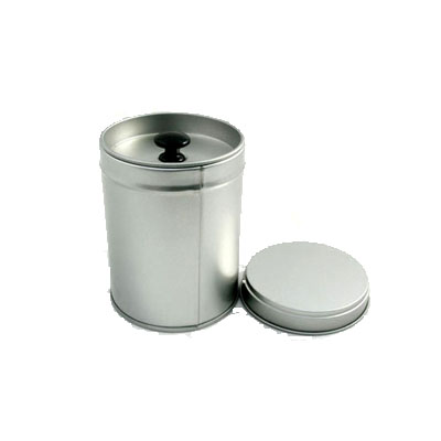 metal tea tin with inner lid and handle