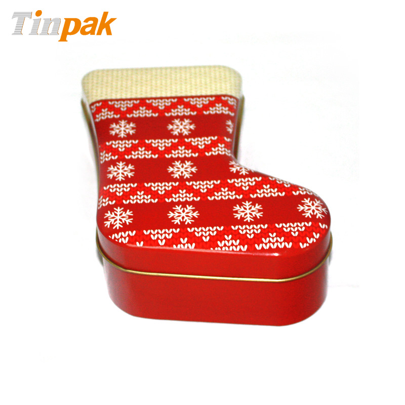 Wholesale sock shaped Christmas cookie tins with lid