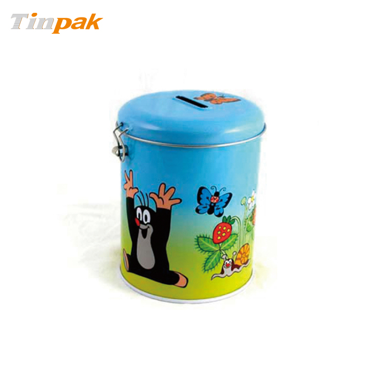 Custom round metal piggy bank tin with lock manufacturer for How to open a tin piggy bank