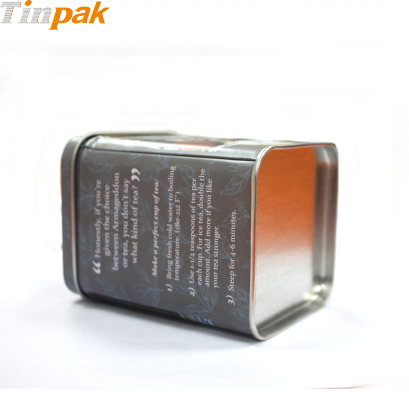 small square tea tins