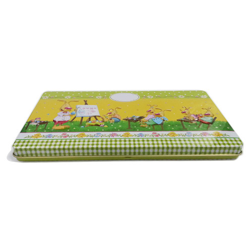 Easter theme tin box for candy
