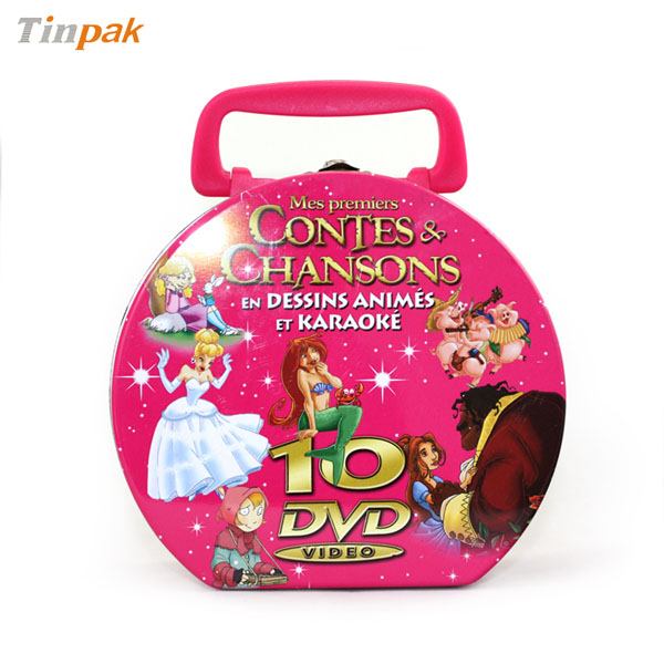 custom DVD tin case with handle