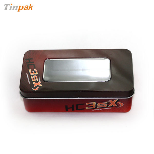 rectangular hinged tin box with PVC window
