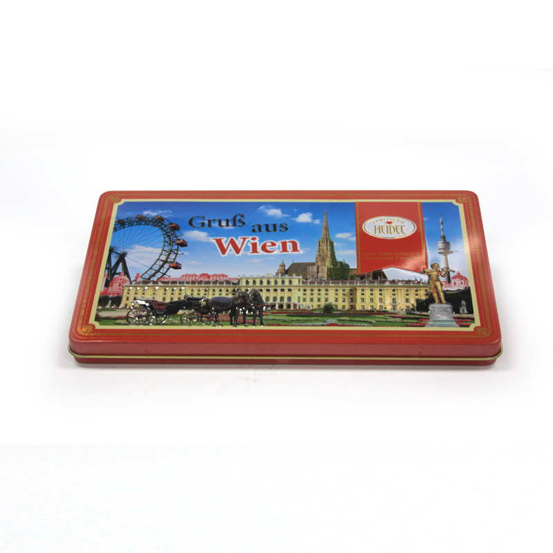 high quanlity rectangular chocolate tin case