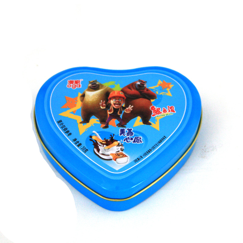 Heart shaped tin container