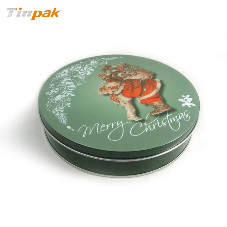 Wholesale large round christmas tin box with flat lid supplier