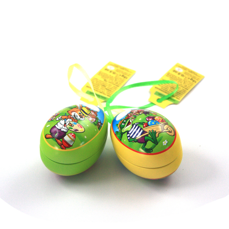 Popular Small Easter Egg Tin with Ribbon