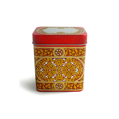 embossed tea tin canister