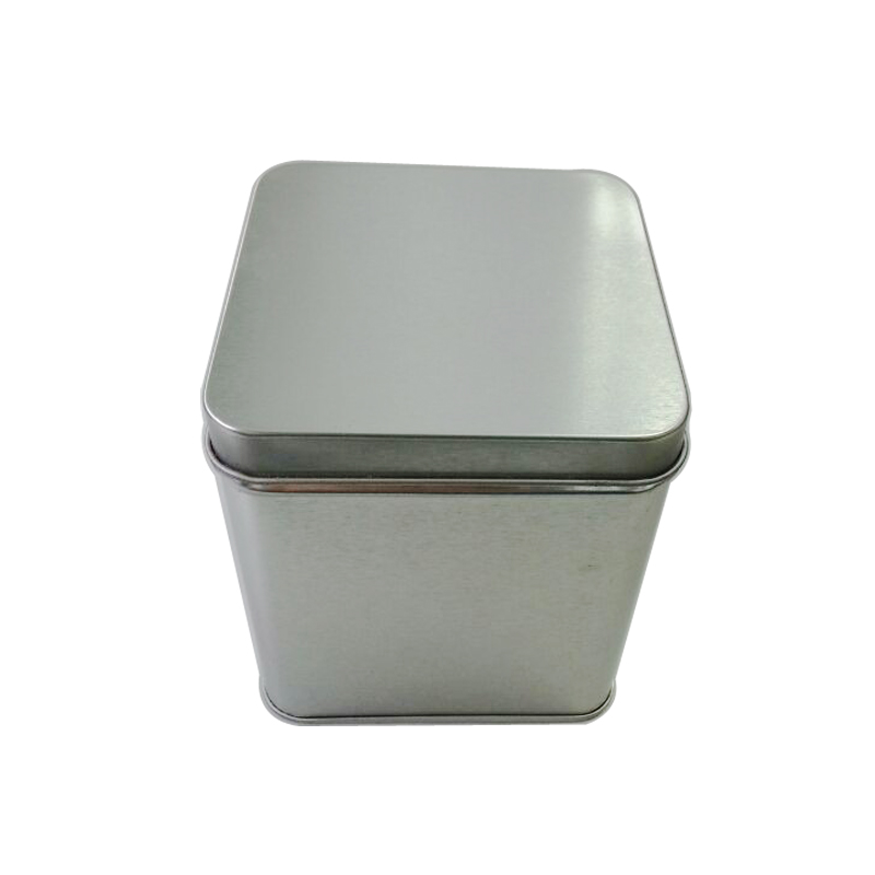silver plain square tin box