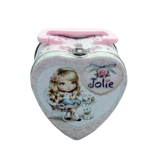 Heart shaped cosmetics tin box with handle