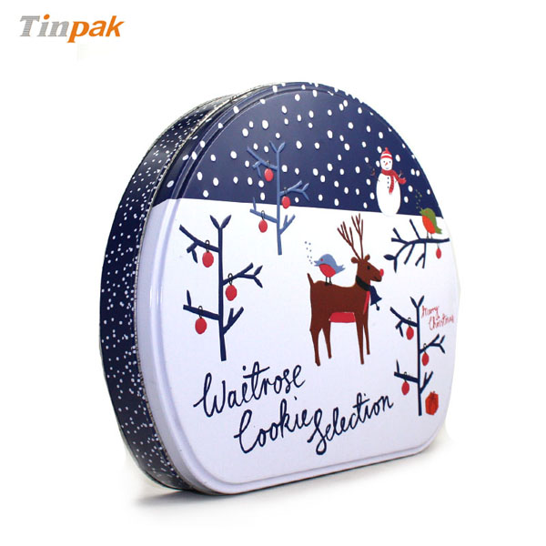 Custom shaped christmas tin box