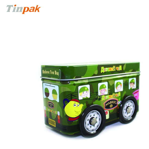 Bus shaped gift tin box with wheels