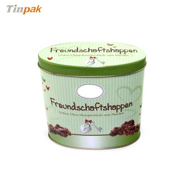 Custom embossed tin container for chocolate