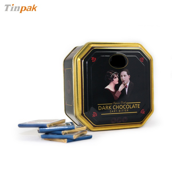 delicate octagonal tin box