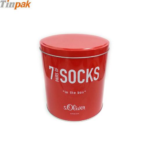 round socks tin box
