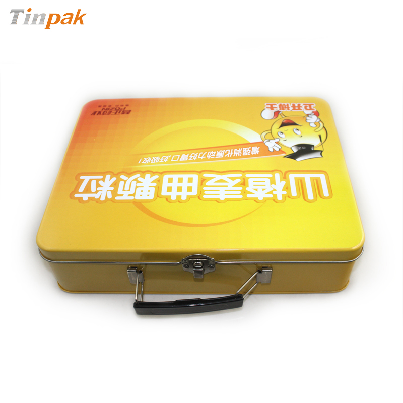 gift tin box with plastic handle