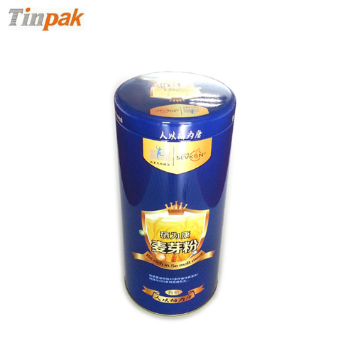 round empty food tin container