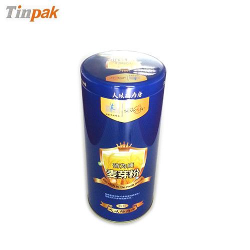 round empty food tin container