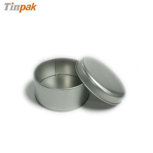 round metal plain tin case