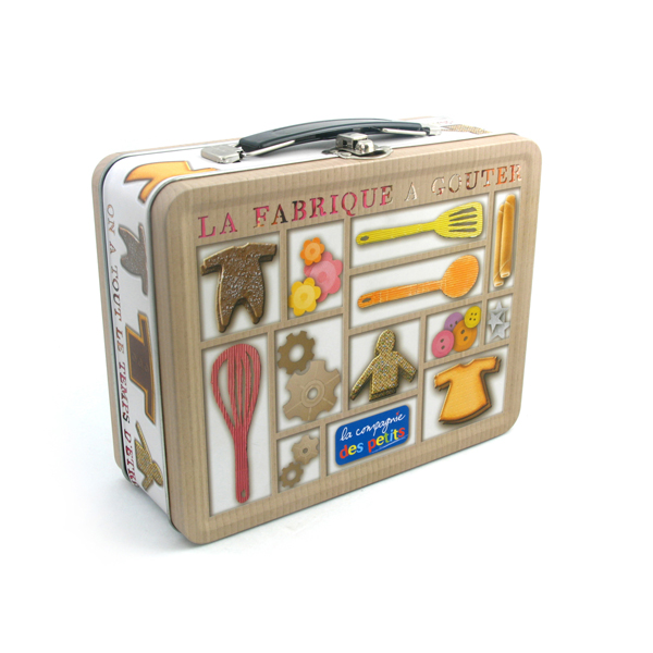 rectangular metal tin with handle for toys