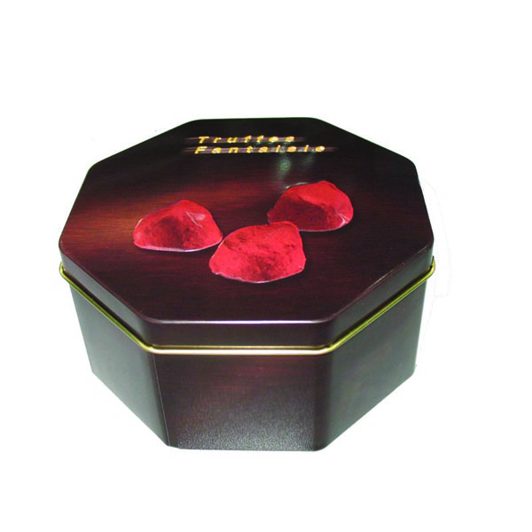 embossed octagonal chocolate metal tin boxes