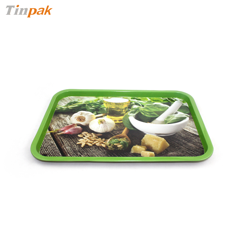 printed rectangular food tin trays