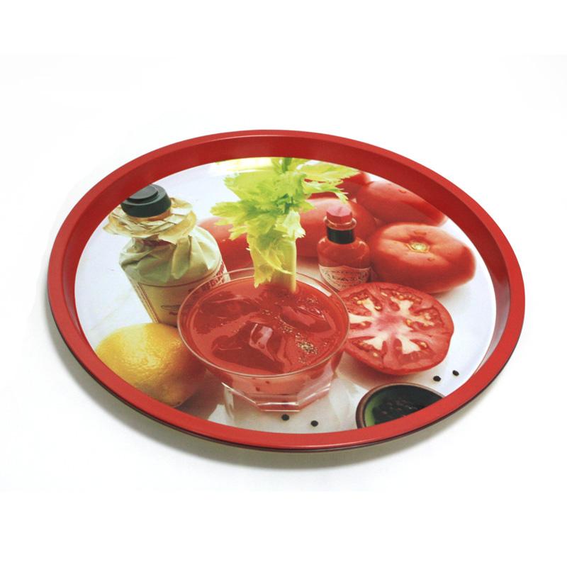 custom metal round fruit tin trays