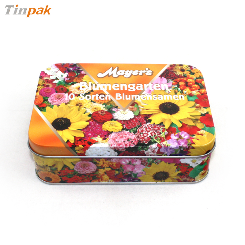 printed rectangular candy tin box