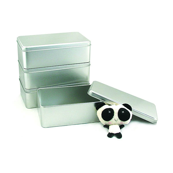 silver plain metal storage tin container