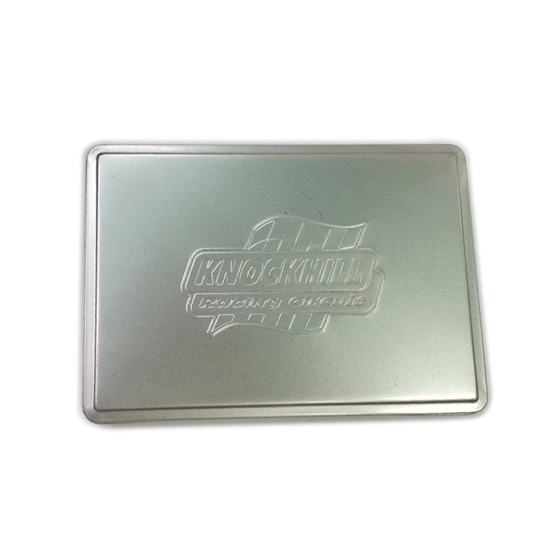 custom embossed rectangular gift tin box