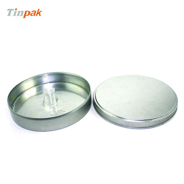 round metal plain CD tin box with inner tray
