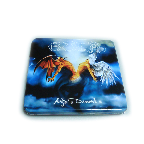 custom printed CD tin box with hinged lid