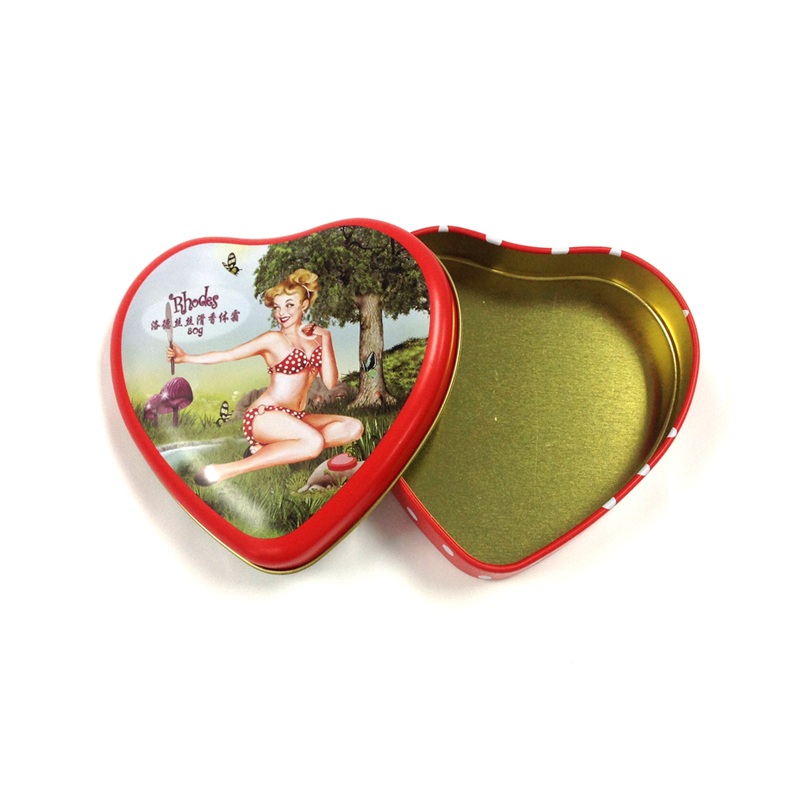 heart shape body cream tin