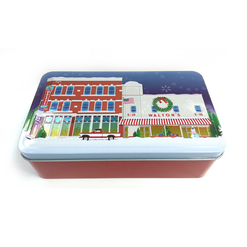 rectangular Christmas biscuit tin box with embossing