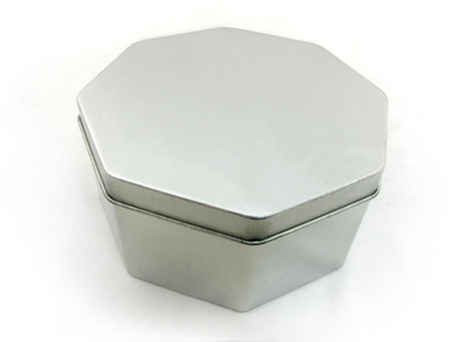 silver plain octagonal shaped candy tin box