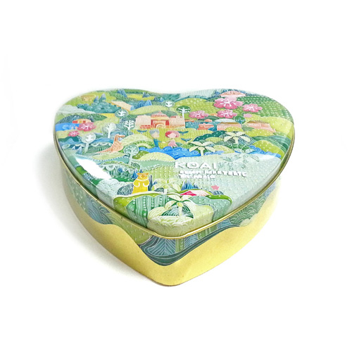 heart shaped metal biscuit tin box with slip lid