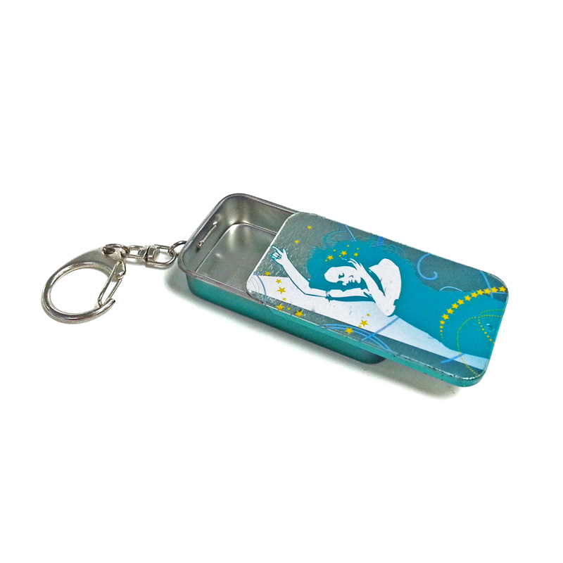 small sliding chewing gum tin box with key ring