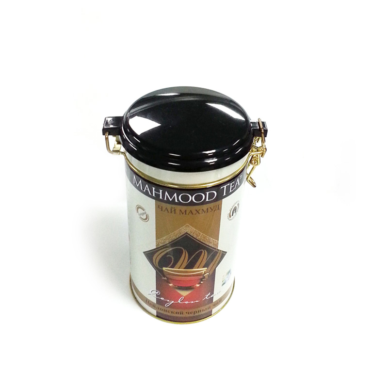 medium round tea tin box with plastic airtight lid