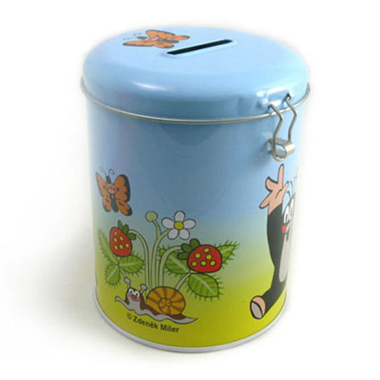 round coin bank tin box