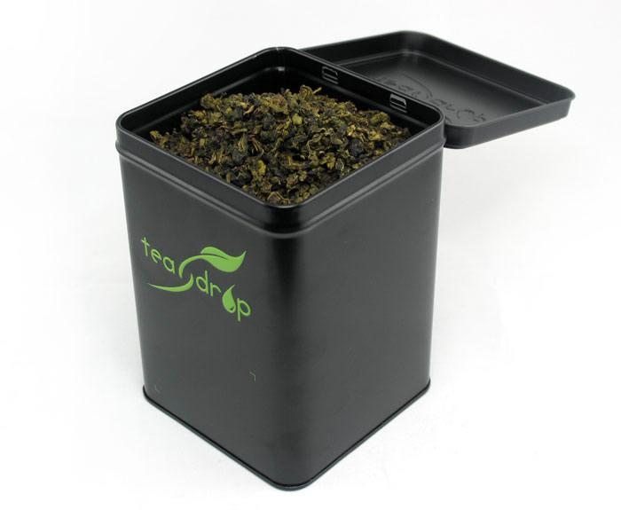 square hinged tea tin container