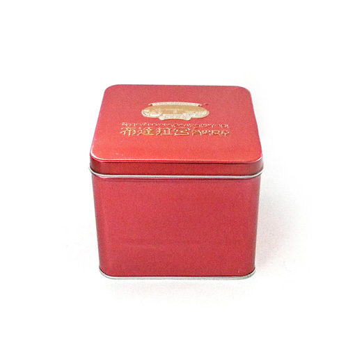 red square tea metal tin container with embossing