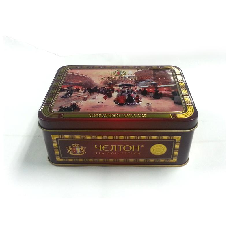 small rectangular metal tea caddy