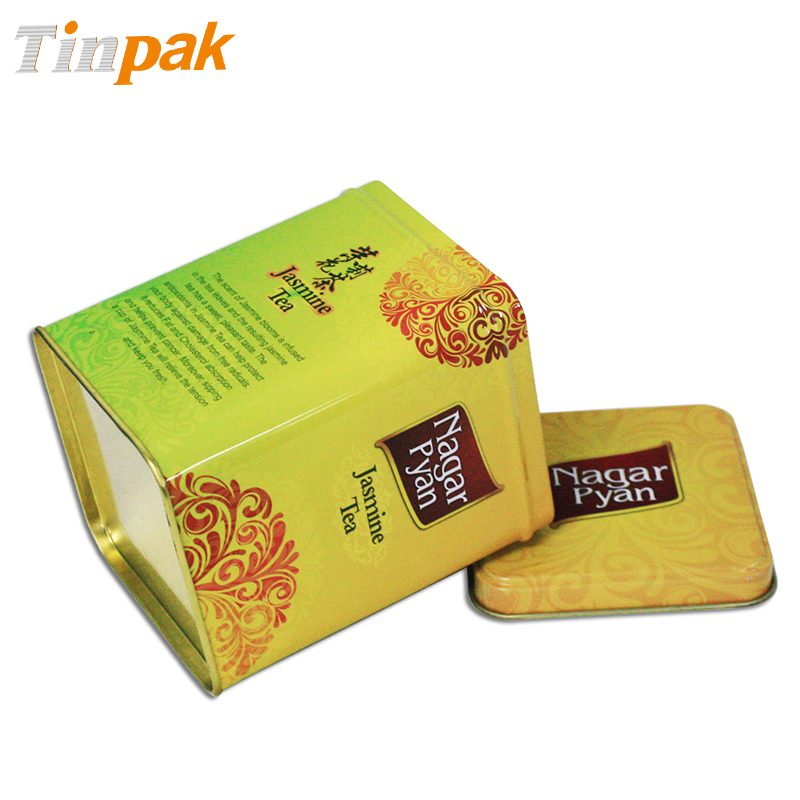 fancy square tea tin box