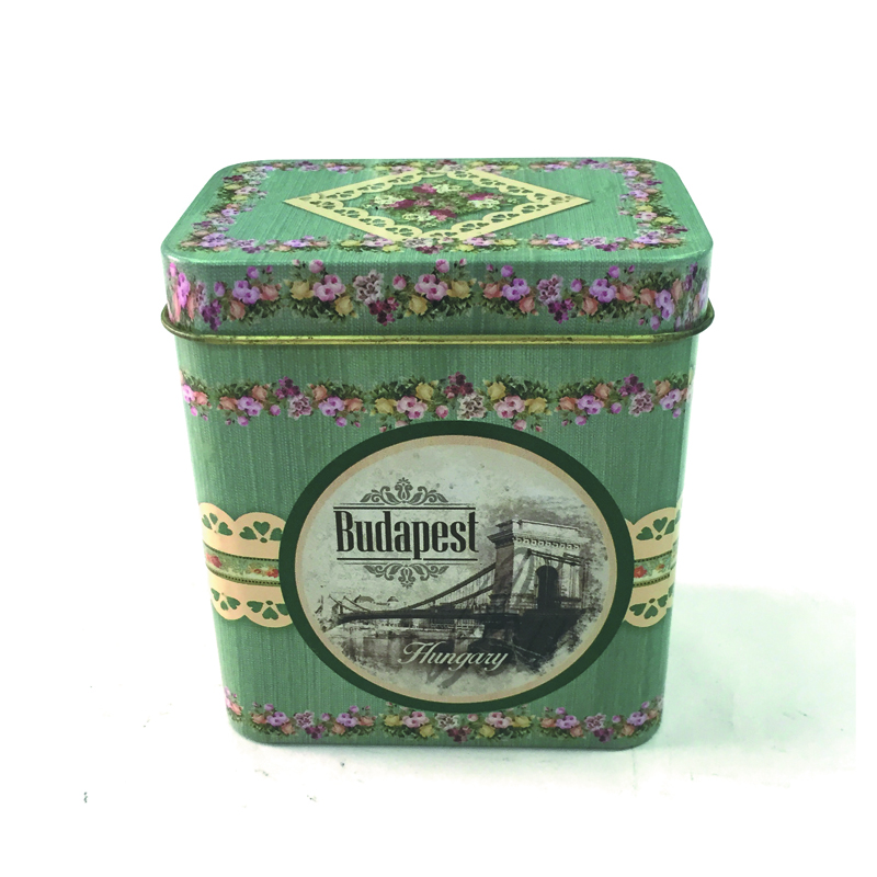 Printed rectangular candy tin case