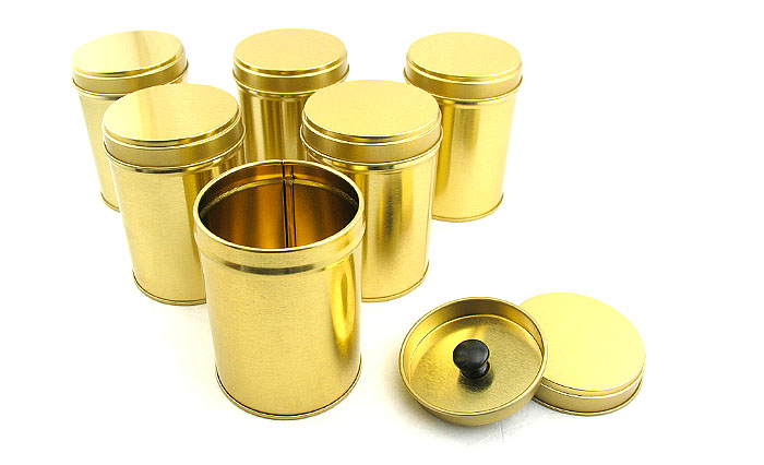 Round Plain Metal Tea Caddy