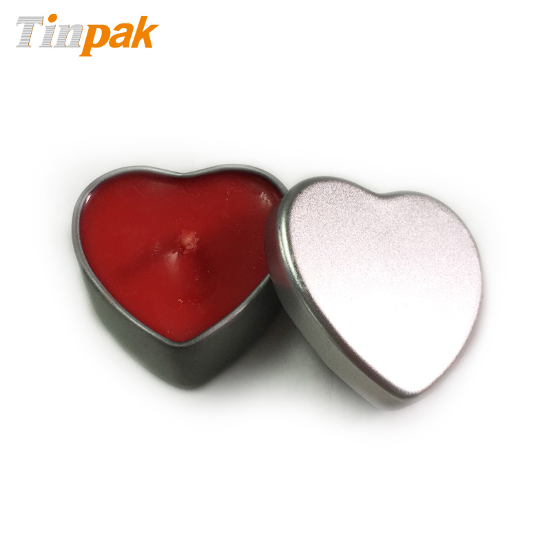 Plain mini heart shape candle tin