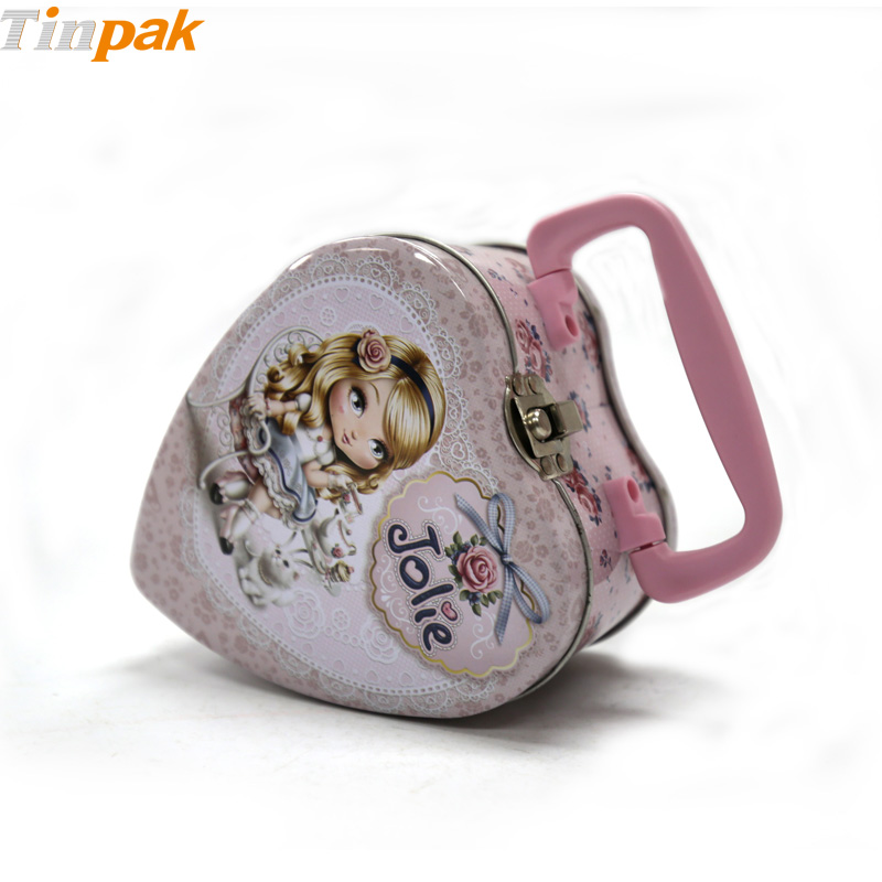 Cute heart shaped candy tin with lock and handle
