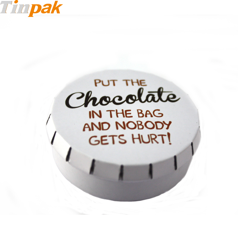 Small click clack tin box for chocolate packaging
